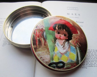 Vintage Tin Box * Round Artist's Tin * Sad Eye's * Harlequin * Bakers Tin * Candy * Jesters * Metal Container * Classic Painting