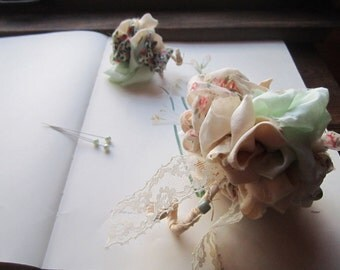 Vintage Fabric Wedding Flowers * Fabric Corsage/Boutonniere * Statement Corsage * Alternative Flowers * Non Traditional  * Sewn Bouquet