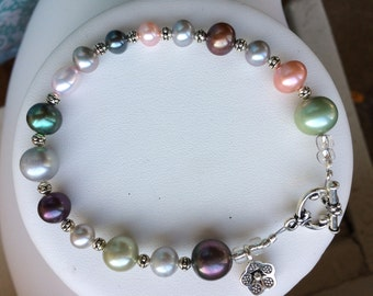 Bracelet — Freshwater Pearls of Mixed Hues, Sterling Silver Flower Charm