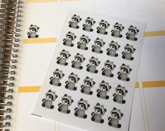 25 Raccoon Stickers Great For The Erin Condren Life Planner & Other Planners, Cute Stickers, Fits Erin Condren Planner, Stickers