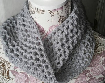 Twisted Cowl Neck Warmer Gray Crochet Scarf