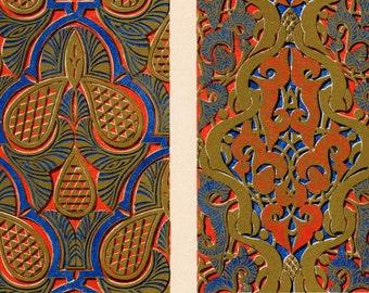 Antique Owen Jones Print - Moresque No. 3a - Plate 41a - Rare 1865 Design Chromolithograph - Grammar of Ornament