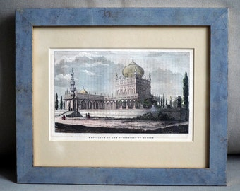Framed Antique Print from 1857 - Mausoleum of the Sovereigns of Mysore, India