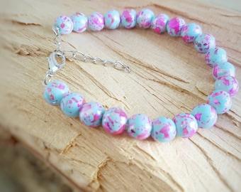Pink and Blue Adjustable Beaded Bracelet-Adjustable Beaded Bracelet-Gifts for Her-Gifts for Mom-Gifts for Mum-Bracelet-Jewelry-Jewellery-