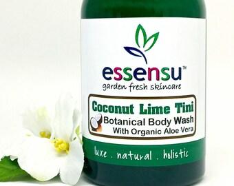 Coconut Lime Tini Aloe Vera Natural Botanical Body Wash | Nourishing | Suitable for Sensitive Skin | Vegan | No Sulfates or Parabens - 4 oz