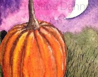 Original Art Pumpkin Fall Autumn Halloween ACEO Painting