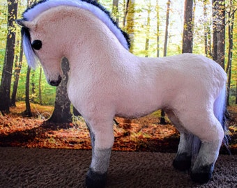 OOAK Handmade cuddle soft toy Norwegian fjord  horse 'Lupin'