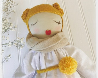 Fabric doll. cloth doll Blond hair, braids, white linen dress, golden pom pom, sleeping doll, cuddly, heirloom doll
