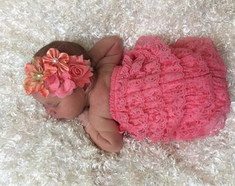 Lace Romper...SALE......ruffle romper....Baby Bloomers..newborn photography prop....perfect for Babys first birthday