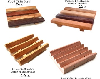 RESERVE LISTING - 61 ct. wood soap dish variety pack - 30 soap pallet soap dishes