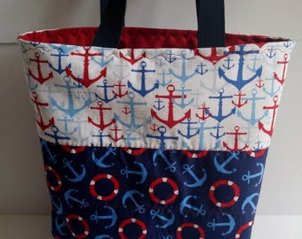 Tote Bag, Nautical Print, Beach Bag, Pool Bag, Book Bag, Grocery Bag, Picnic Bag, Travel Tote Bag