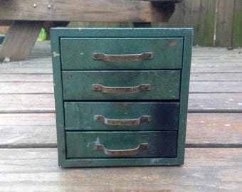 Small Green Metal Vintage Box - Parts - Letterpress - Storage Compartments - Industrial Antique Cabinet