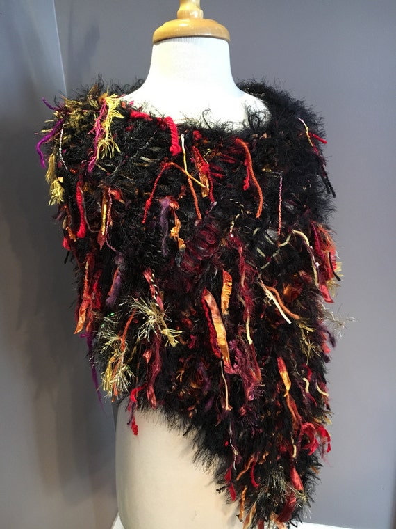 Fringed Fur Knit Poncho, Dumpster Diva 'Warm Shanghai' Mixed fiber red black fur Wrap, Black Ponchos, Wraps, shoulder wrap, knit fur poncho