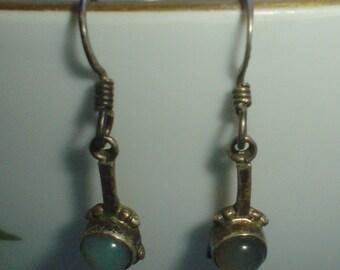Silver earrings chalcedony sterling dangly dangle small pierced ears vintage