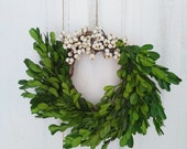 Boxwood Wreath, preserved boxwood, boxwood and berries