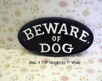 Beware of Dog Small Cast Iron Sign Black White Gate Fence Home Decor