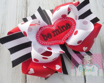 Embroidered Felt Be Mine Layered Boutique Style Hair Bow-Valentines Day Hair Bow