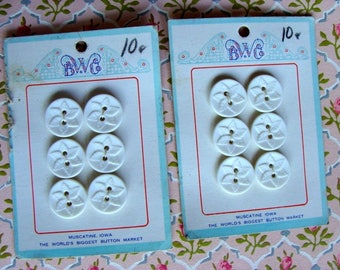 Dozen Pretty White Buttons complete button cards lot