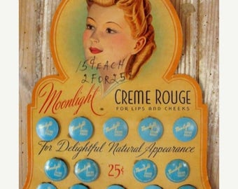 ON SALE Antique Large Rare Unused Moonlight Rouge 14 Gorgeous Hinged Aqua Feminine Tins Lot on Original Vintage Makeup Display