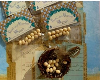 ON SALE Tiny Speckled Tan Eggs for assemblage, altered or fabric journals and Farmhouse Nature Decor Dozen pcs