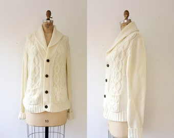 cable knit sweater / fishermans cardigan / Shawl Collar Sweater