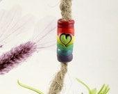 Rainbow love dread bead