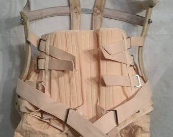 Antique vintage back brace pink corset lacing H. Saur Philadelphia,  large