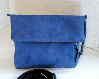 Vegan Crossbody Bag in Blue Lavender Faux Suede, Vegan Bag, Crossbody Bag