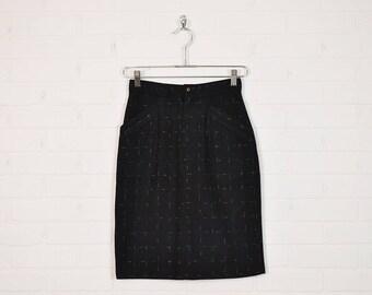 Vintage 80s Black Pencil Skirt High Waist Skirt Wiggle Skirt Bodycon Skirt Black Wool Skirt Secretary Skirt New Wave Skirt XS Extra Small