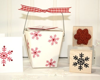 NORDIC SNOWFLAKE Rubber Stamp~Christmas~Holiday~DIY Card Making Crafting~Two Sizes~Wood Mounted Stamp (29-06A/Lg)(29-06B/Sm)