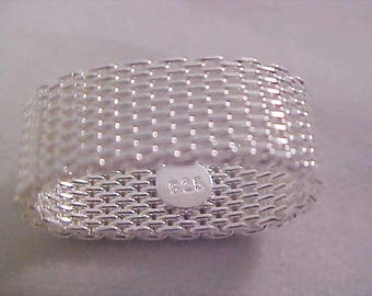 Sterling Silver Woven Mesh Ring size 7