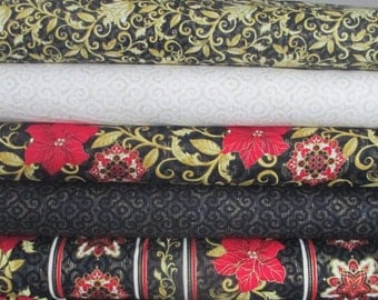 Black Red Gold Natalia Christmas Fabric Bundle - Timeless Treasures