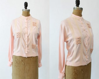 50s Sweater Medium / 1950s Vintage Cardigan Bows / Sweet Sixteen Sweater