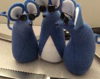 Three Blue Blind Felt Mice