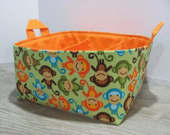 SALE Fabric Diaper Caddy - Storage Container Basket - Organizer Bin - Tote Bag - Bucket- Baby Gift - Nursery - Urban Zoologie Monkeys Green