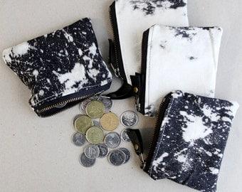 Coin Purse Card Pouch Small Zipper Pouch Black and White Bleached Denim