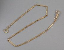 Vintage Art Deco gold filled bar link pocket watch vest chain signed Speidel 1920s j429