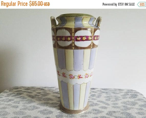SPRING CLEANING SALE Antique Imperial Nippon Japan hand painted tall porcelain ceramic vase urn with eared handles / Asian / Oriental