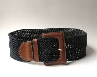 Ann Taylor vintage Wide Woven Black Waxed Cotton Cord and Brown Leather Belt / Made in Taiwan / Minimalist Preppy Equestrian Boho Hipster