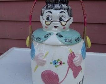 1950s Grandma Knitting Cookie Jar