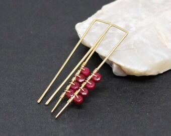 Ruby Gemstone . 14k Gold Filled Stick Earrings . Raspberry Red . E17083