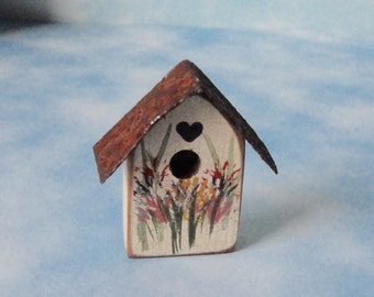 Vintage Hand Made Wood and Metal Birdhouse Brooch/Pin