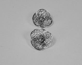 Vintage Silver tone KRAMER Flower Earrings.