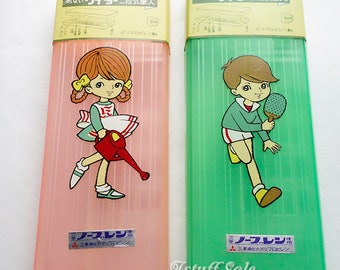 Set of 2 -  60's vintage Japanese pencil cases (Pink & Green)