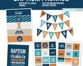 Baptism Printable, Water Bottle Label, Baptism Print, Printable Banner, Boy Baptism, Navy Blue, Orange, Great to be 8, Instant Download