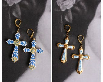 CROSS Earrings Portugal Antique 16th Evora and 17th century Azulejo Tile Replicas - Blue Gold-  ERICEIRA Majolica Mosaic Travel Reversible