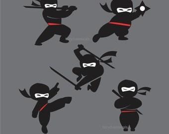 Ninjas Wall Decal, set of 5 vinyl wall decals, boy bedroom decorations, warrior, samurai wall decals, black belt karate, black ninja decals