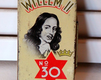 Vintage WILLEM II Cigarillos TIN No 30 Hinged Lid Valenswaard Holland Tobacco Tobacciana Collectibles Assemblage Altered Art