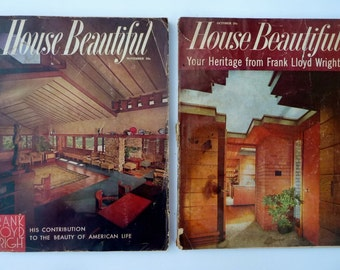 Vintage House Beautiful Magazines LOT of 2, 1955 1959 - Both Frank Lloyd Wright Issues