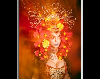 Sun Kissed... Floral Flower Headdress in Red range Yellow with Blue Jewels Rhinestones and Glitter